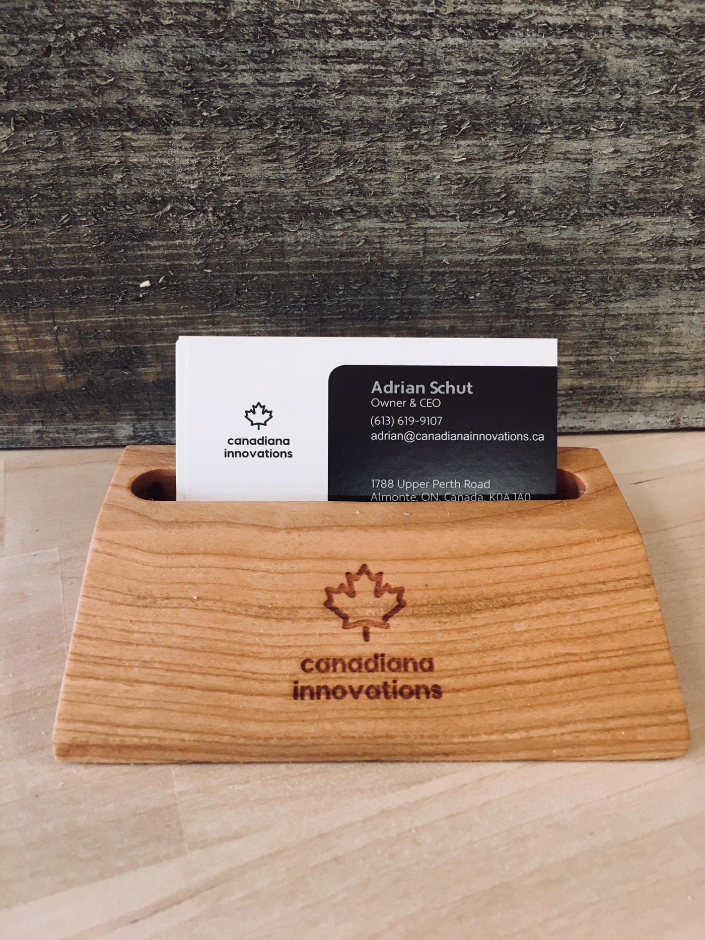 Phone or business card holder made of Canadian hardwood